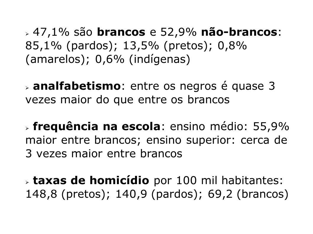 47,1% são brancos e 52,9% não-brancos: 85,1% (pardos); 13,5% (pretos); 0,8% (amarelos); 0,6% (indígenas) analfabetismo: entre os negros é quase 3 veze