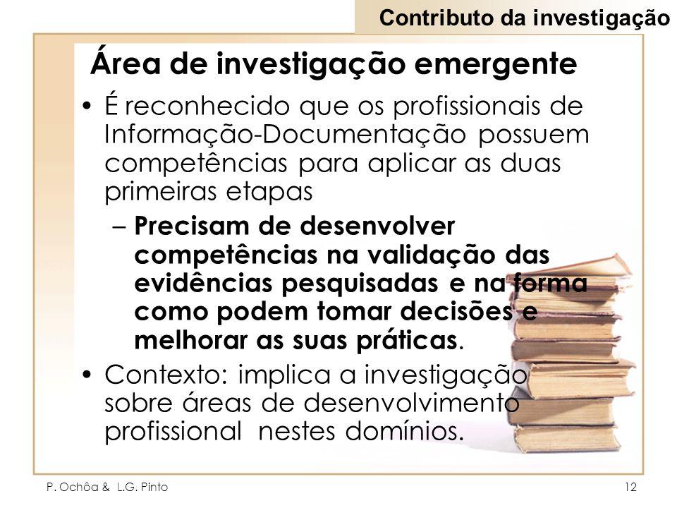 P. Ochôa & L.G. Pinto12 Área de investigação emergente É reconhecido que os profissionais de Informação-Documentação possuem competências para aplicar