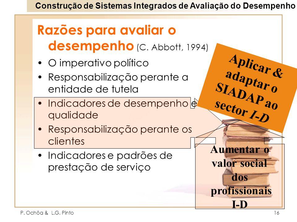 P. Ochôa & L.G. Pinto16 Razões para avaliar o desempenho (C. Abbott, 1994) O imperativo político Responsabilização perante a entidade de tutela Indica