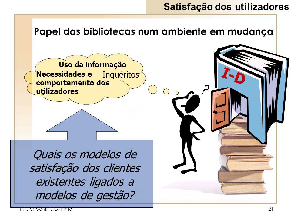 P. Ochôa & L.G. Pinto21 Papel das bibliotecas num ambiente em mudança I-D Inquéritos Uso da informação Necessidades e comportamento dos utilizadores Q