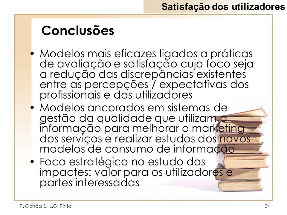 P. Ochôa & L.G. Pinto24 Conclusões Modelos mais eficazes ligados a práticas de avaliação e satisfação cujo foco seja a redução das discrepâncias exist