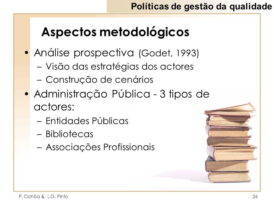 P. Ochôa & L.G. Pinto26 Aspectos metodológicos Análise prospectiva (Godet, 1993) –Visão das estratégias dos actores –Construção de cenários Administra