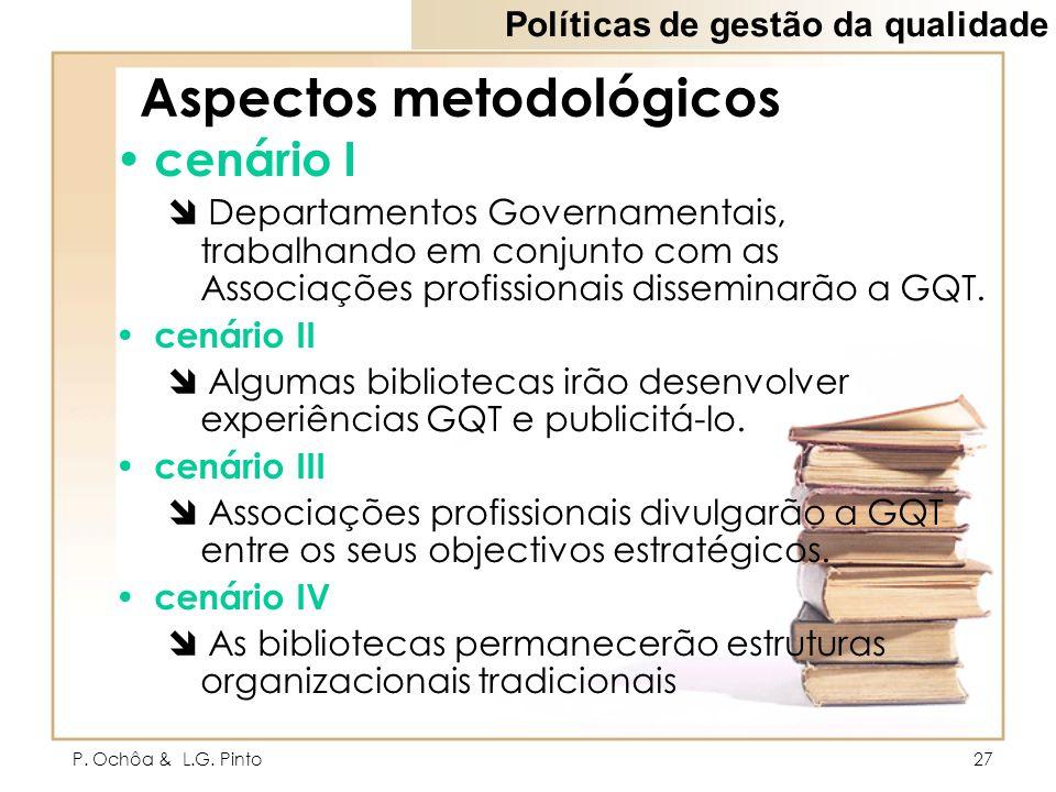 P. Ochôa & L.G. Pinto27 Aspectos metodológicos cenário I Departamentos Governamentais, trabalhando em conjunto com as Associações profissionais dissem