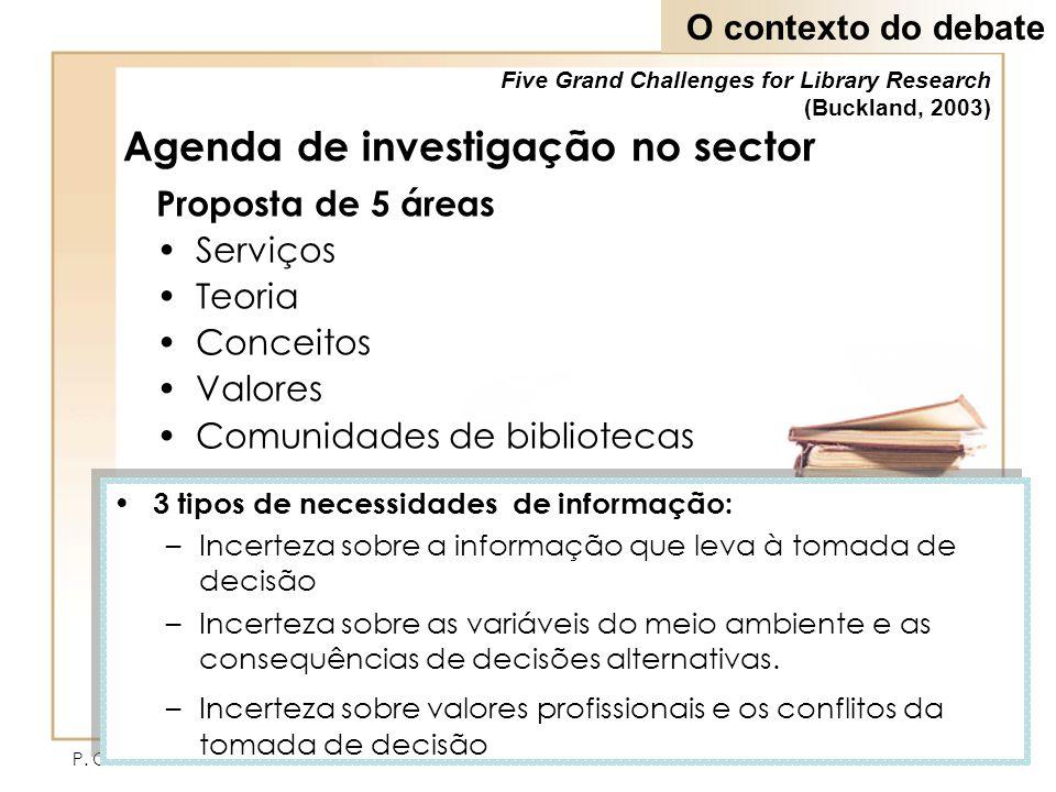 P. Ochôa & L.G. Pinto3 Agenda de investigação no sector Proposta de 5 áreas Serviços Teoria Conceitos Valores Comunidades de bibliotecas Five Grand Ch