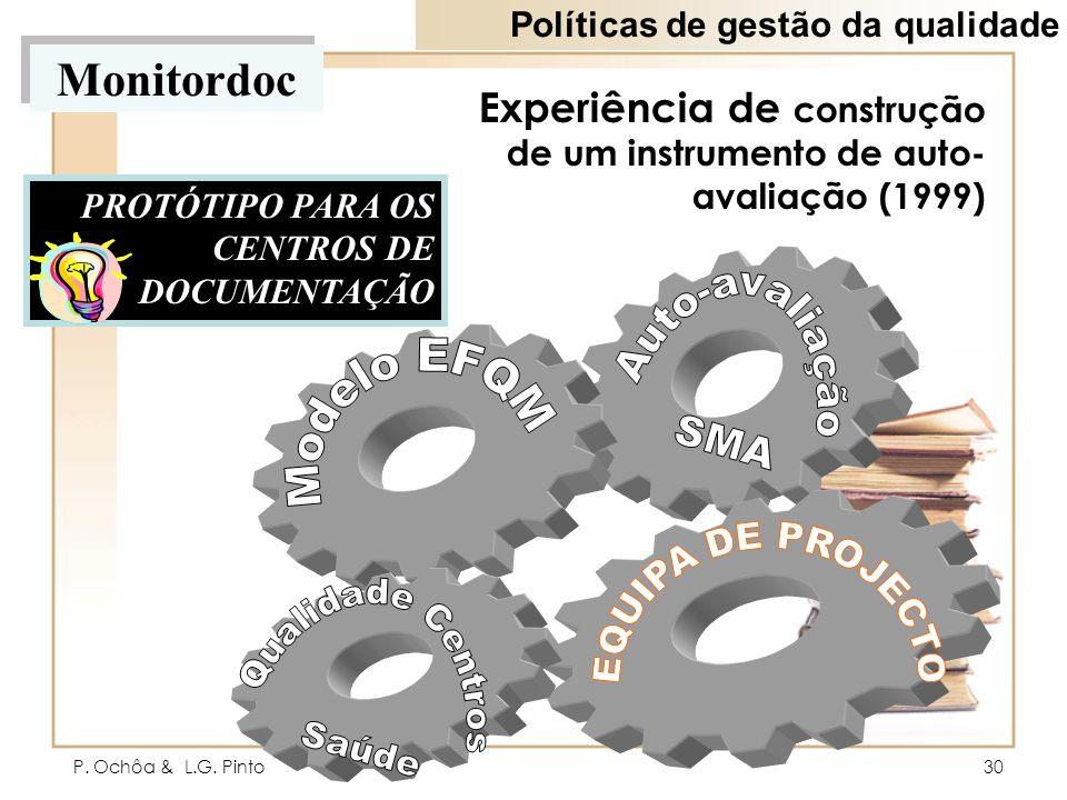 P. Ochôa & L.G. Pinto30 Experiência de construção de um instrumento de auto- avaliação (1999) PROTÓTIPO PARA OS CENTROS DE DOCUMENTAÇÃO Monitordoc Pol