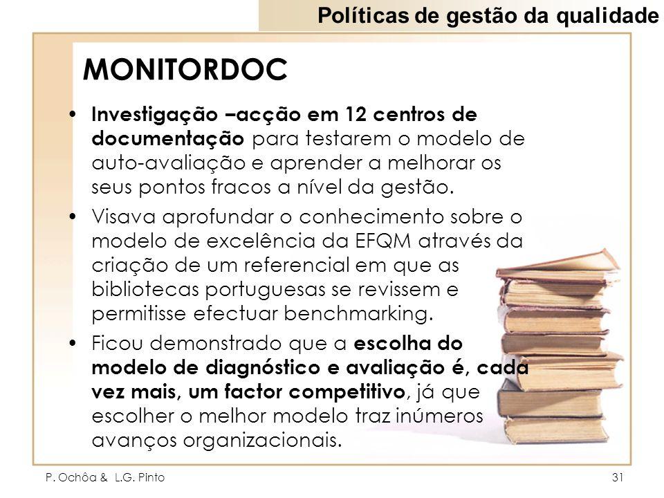 P. Ochôa & L.G. Pinto31 MONITORDOC Investigação –acção em 12 centros de documentação para testarem o modelo de auto-avaliação e aprender a melhorar os
