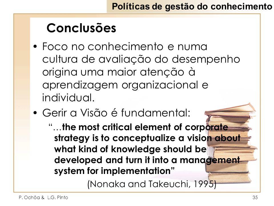 P. Ochôa & L.G. Pinto35 Conclusões Foco no conhecimento e numa cultura de avaliação do desempenho origina uma maior atenção à aprendizagem organizacio