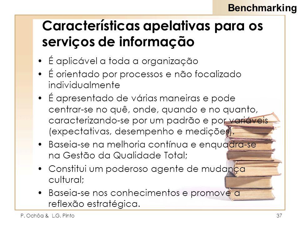 P. Ochôa & L.G. Pinto37 Características apelativas para os serviços de informação É aplicável a toda a organização É orientado por processos e não foc
