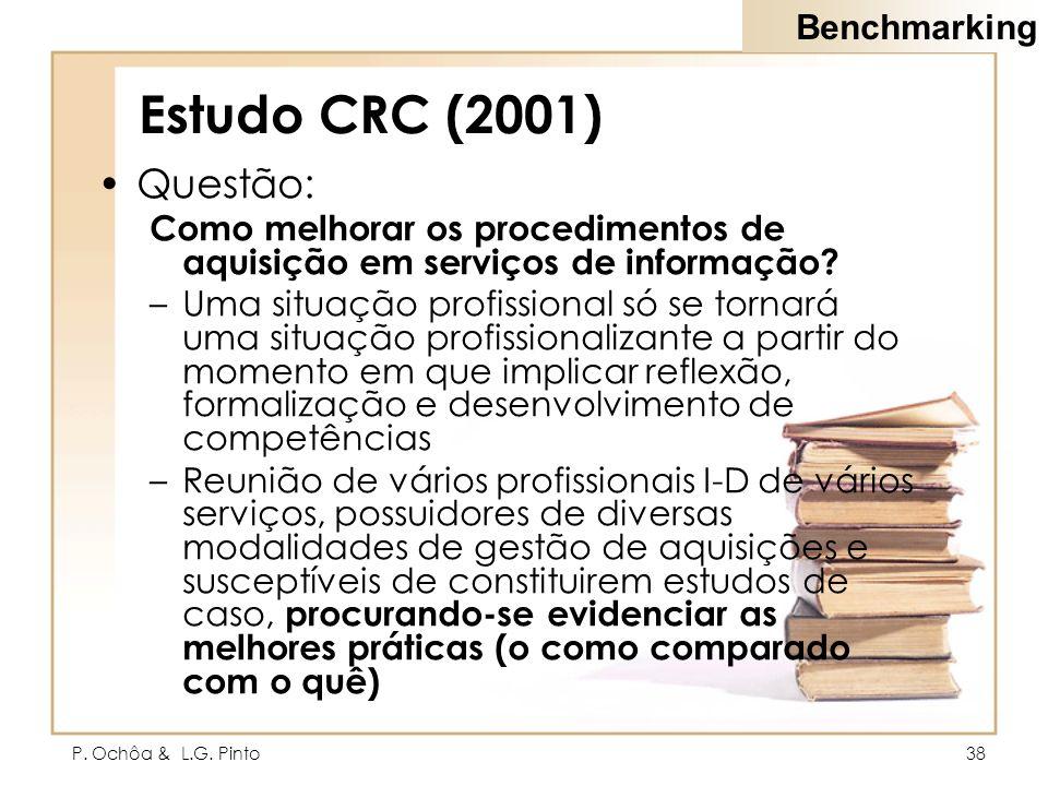 P. Ochôa & L.G. Pinto38 Estudo CRC (2001) Questão: Como melhorar os procedimentos de aquisição em serviços de informação? –Uma situação profissional s