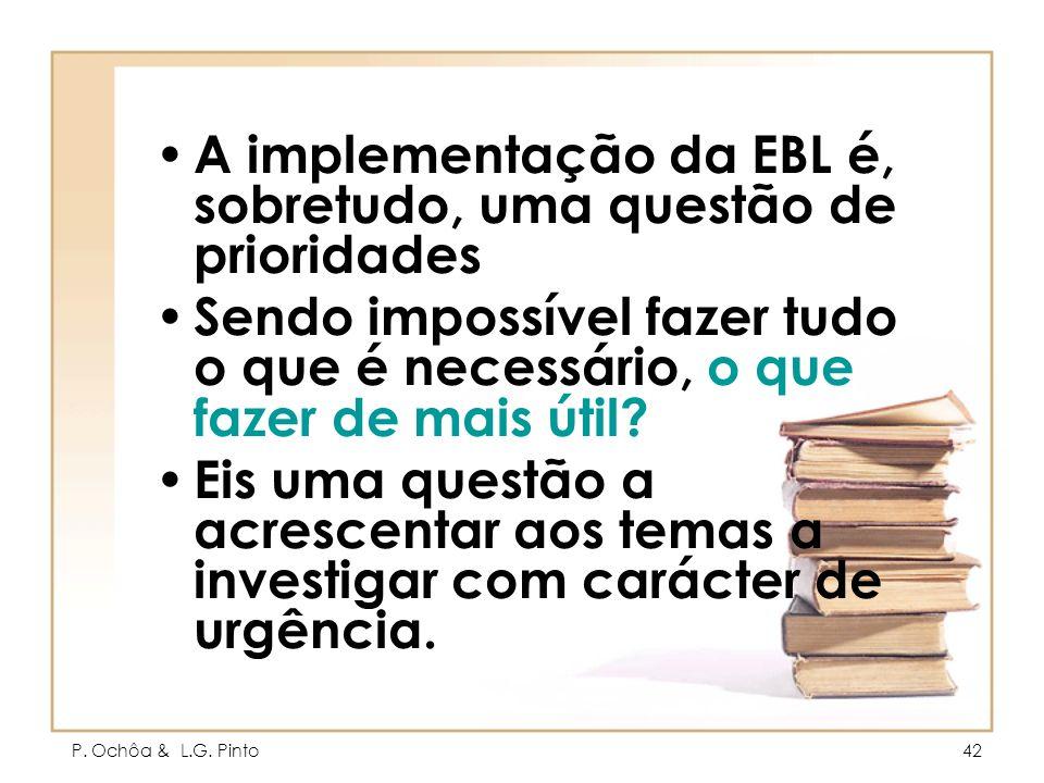 P. Ochôa & L.G. Pinto42 A implementação da EBL é, sobretudo, uma questão de prioridades Sendo impossível fazer tudo o que é necessário, o que fazer de