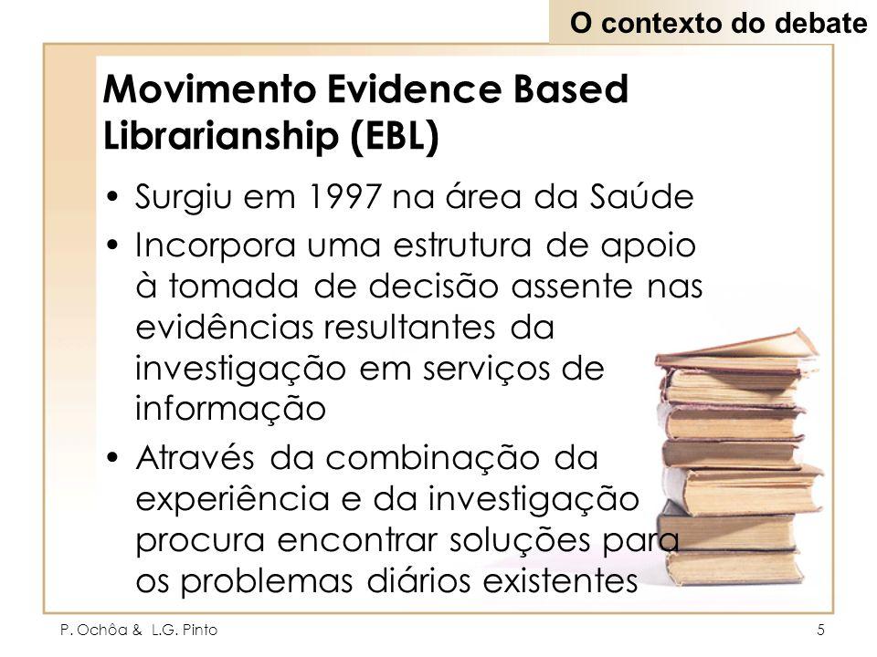P. Ochôa & L.G. Pinto5 Movimento Evidence Based Librarianship (EBL) Surgiu em 1997 na área da Saúde Incorpora uma estrutura de apoio à tomada de decis