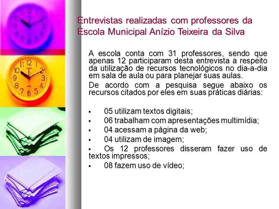 Entrevistas realizadas com professores da Escola Municipal Anízio Teixeira da Silva A escola conta com 31 professores, sendo que apenas 12 participara