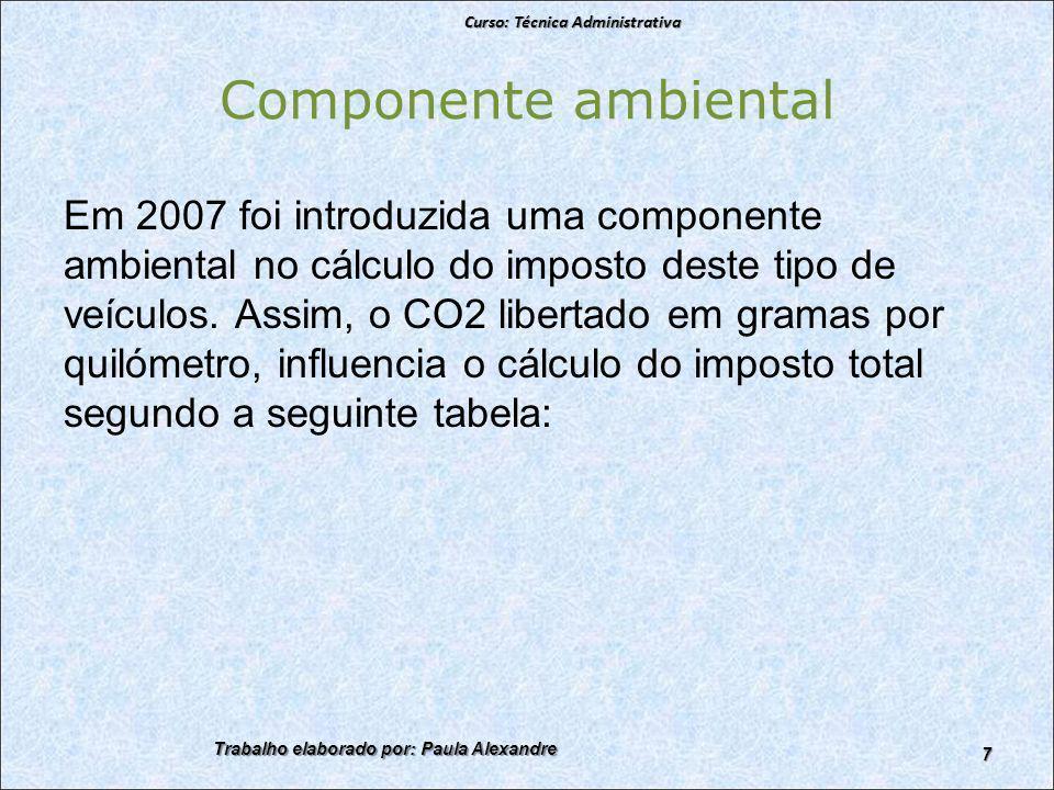 Componente ambiental Em 2007 foi introduzida uma componente ambiental no cálculo do imposto deste tipo de veículos.