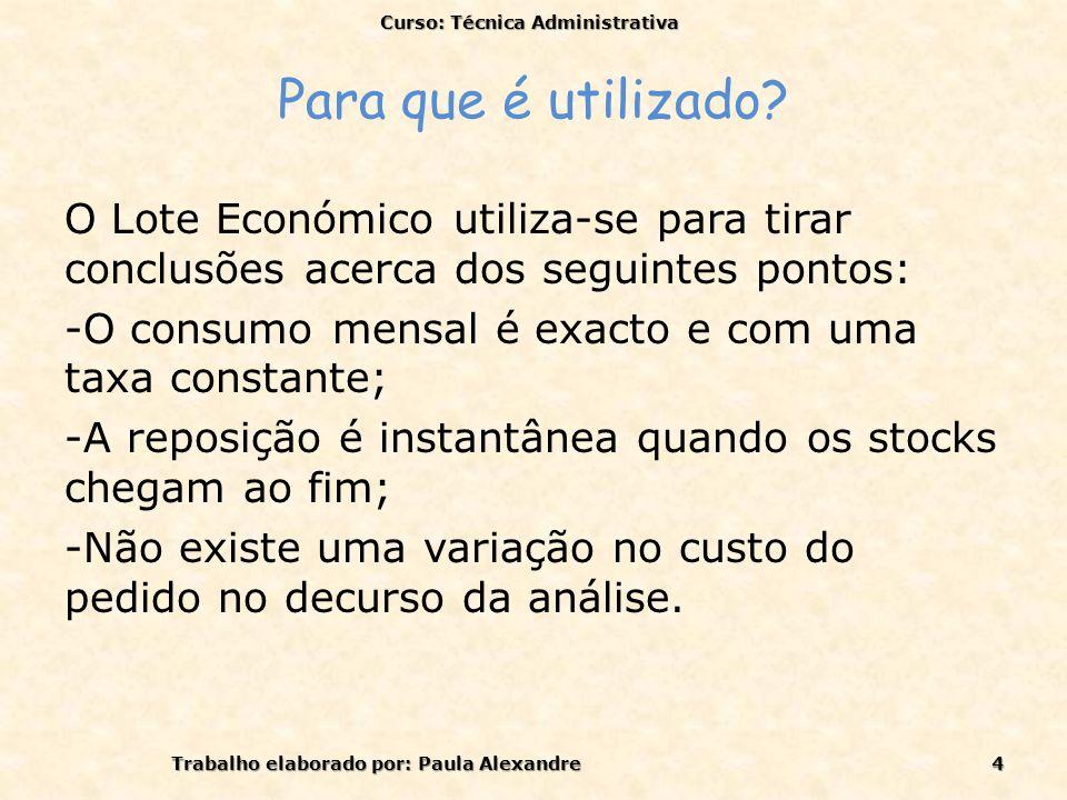 Para que é utilizado? O Lote Económico utiliza-se para tirar conclusões acerca dos seguintes pontos: -O consumo mensal é exacto e com uma taxa constan