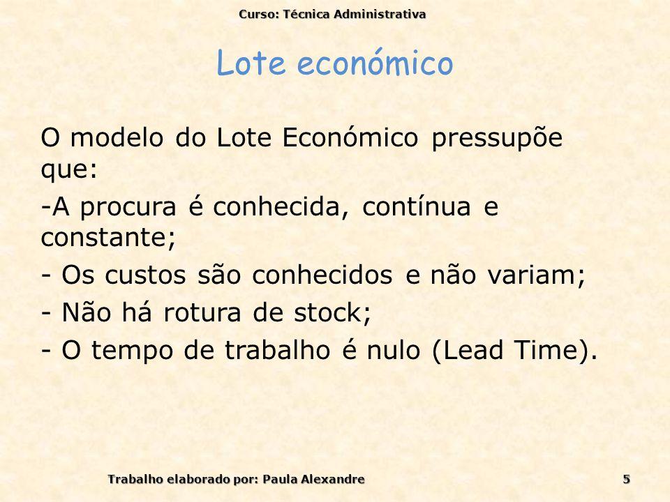 Lote Económico O seguinte gráfico representa o Lote Económico: Cup - Custo económico de compras CA- Custo Anual CT- Custo Total Curso: Técnica Administrativa Trabalho elaborado por: Paula Alexandre6
