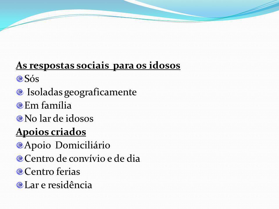 Acção social às pessoas idosas Foram criadas respostas sociais e programas disponíveis para os idosos proporcionando uma melhor qualidade de vida no s