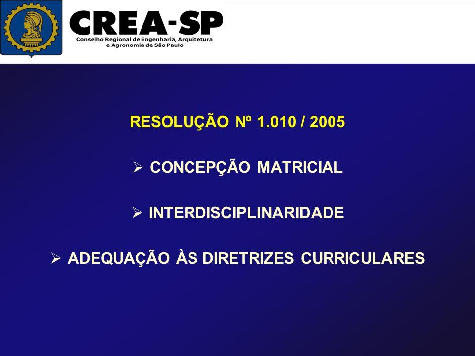 RESOLUÇÃO Nº 1.010 / 2005 CONCEPÇÃO MATRICIAL INTERDISCIPLINARIDADE ADEQUAÇÃO ÀS DIRETRIZES CURRICULARES