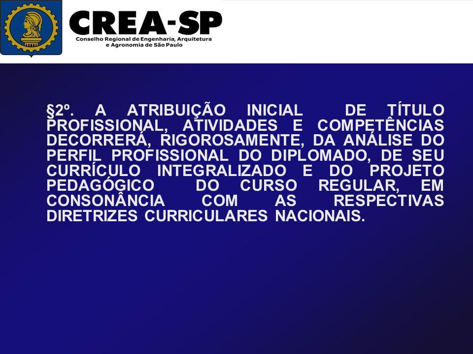 §2º. A ATRIBUIÇÃO INICIAL DE TÍTULO PROFISSIONAL, ATIVIDADES E COMPETÊNCIAS DECORRERÁ, RIGOROSAMENTE, DA ANÁLISE DO PERFIL PROFISSIONAL DO DIPLOMADO,