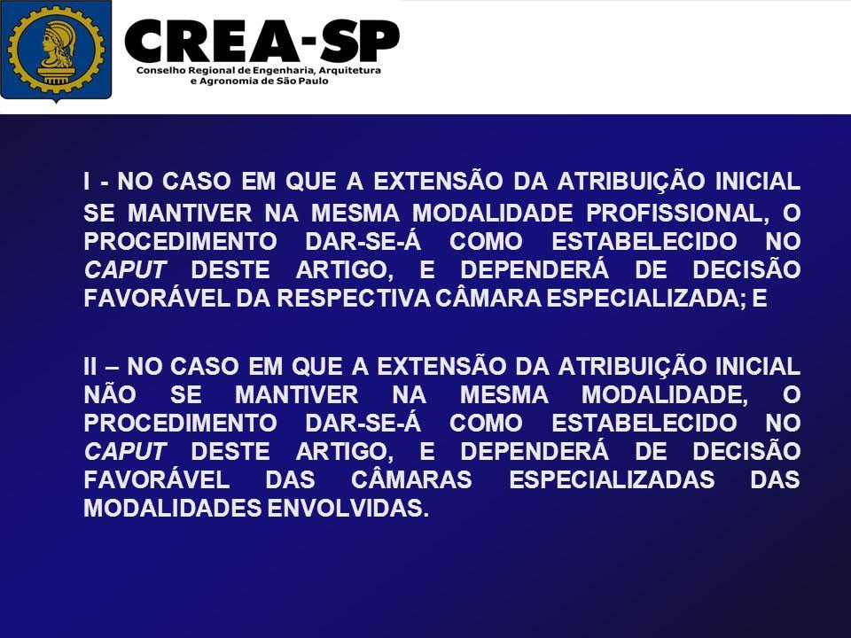 I - NO CASO EM QUE A EXTENSÃO DA ATRIBUIÇÃO INICIAL SE MANTIVER NA MESMA MODALIDADE PROFISSIONAL, O PROCEDIMENTO DAR-SE-Á COMO ESTABELECIDO NO CAPUT D