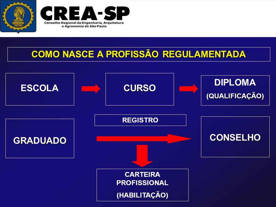 COMO A PROFISSÃO REGULAMENTADA COMO NASCE A PROFISSÃO REGULAMENTADA ESCOLACURSO DIPLOMA(QUALIFICAÇÃO) GRAUADO GRADUADO CONSELHO REGISTRO CARTEIRA PROF