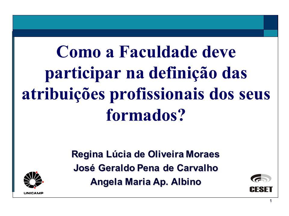 1 Como a Faculdade deve participar na definição das atribuições profissionais dos seus formados? Regina Lúcia de Oliveira Moraes José Geraldo Pena de