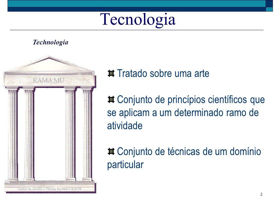 2 Tecnologia Tratado sobre uma arte Conjunto de princípios científicos que se aplicam a um determinado ramo de atividade Conjunto de técnicas de um do