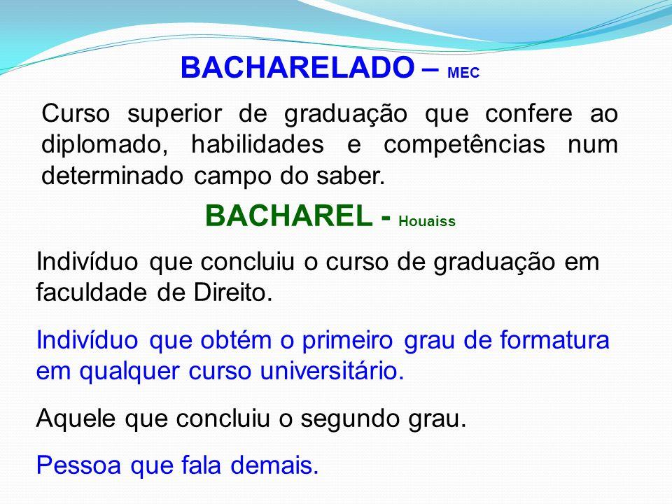 BACHARELADO O que caracteriza um curso como bacharelado é a existência de uma estrutura curricular que confira ao graduado o domínio do conhecimento d