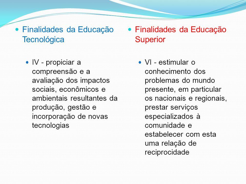 Finalidades da Educação Tecnológica III - desenvolver competências profissionais tecnológicas, gerais e específicas, para a gestão de processos e a pr