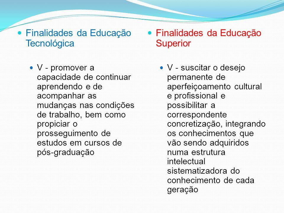 Finalidades da Educação Tecnológica IV - propiciar a compreensão e a avaliação dos impactos sociais, econômicos e ambientais resultantes da produção,