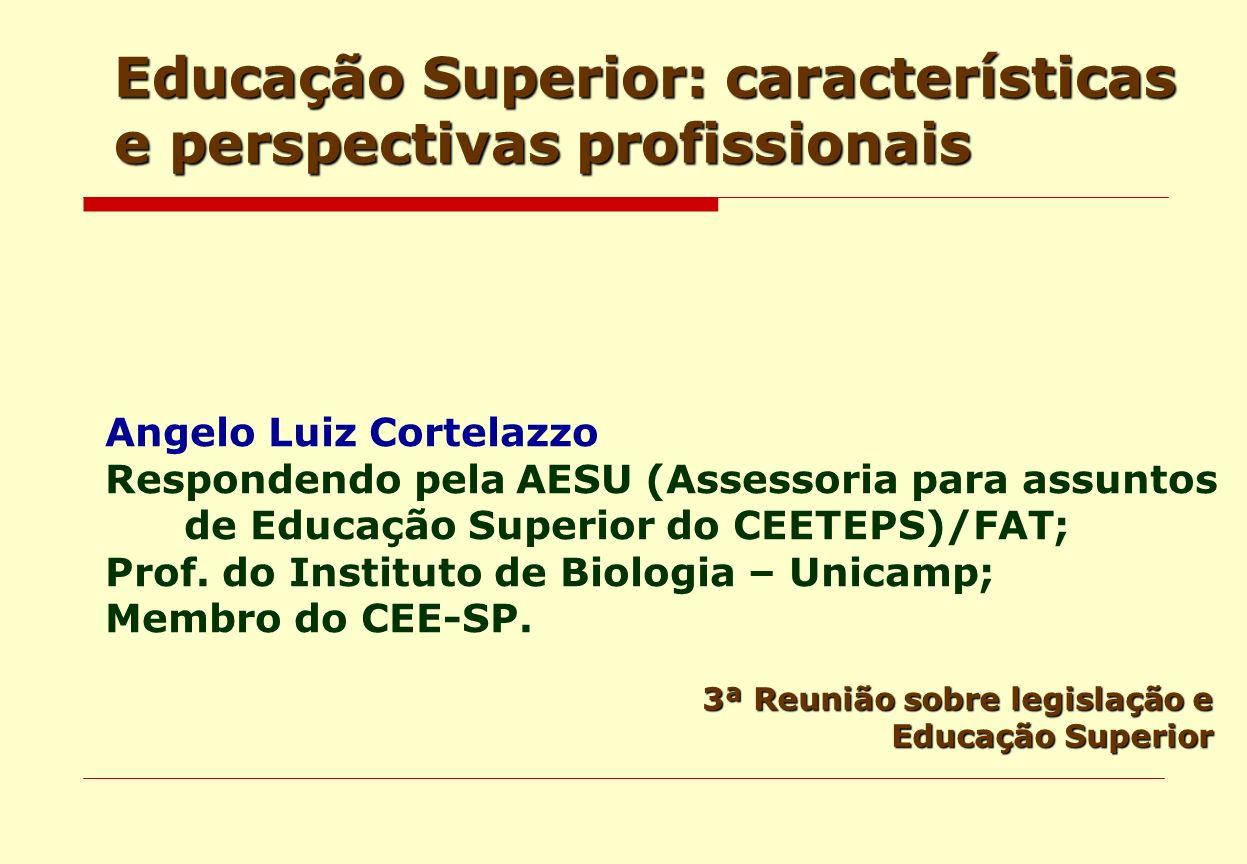 Educação Superior: características e perspectivas profissionais 3ª Reunião sobre legislação e Educação Superior Angelo Luiz Cortelazzo Respondendo pel