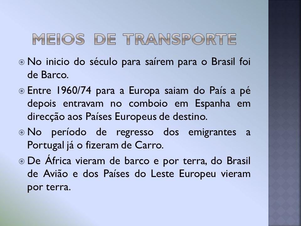 No inicio do século para saírem para o Brasil foi de Barco. Entre 1960/74 para a Europa saiam do País a pé depois entravam no comboio em Espanha em di
