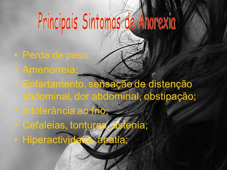 Na anorexia… …perde-se a noção da própria realidade: por muito magra que se esteja, irá sempre ver-se no espelho uma gorda horrível!
