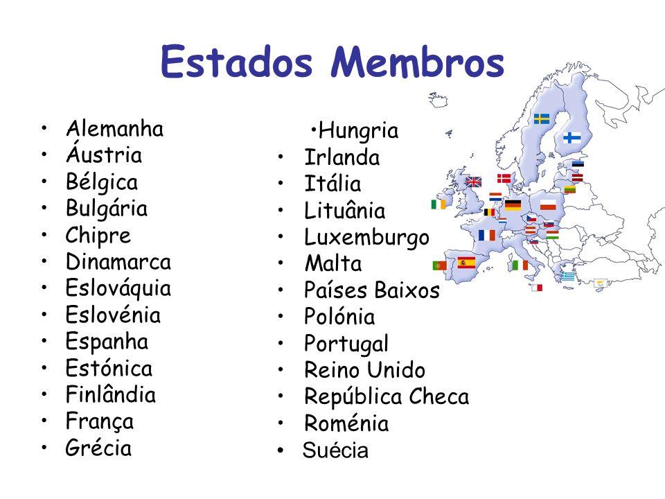 Estados Membros Alemanha Áustria Bélgica Bulgária Chipre Dinamarca Eslováquia Eslovénia Espanha Estónica Finlândia França Grécia Hungria Irlanda Itáli