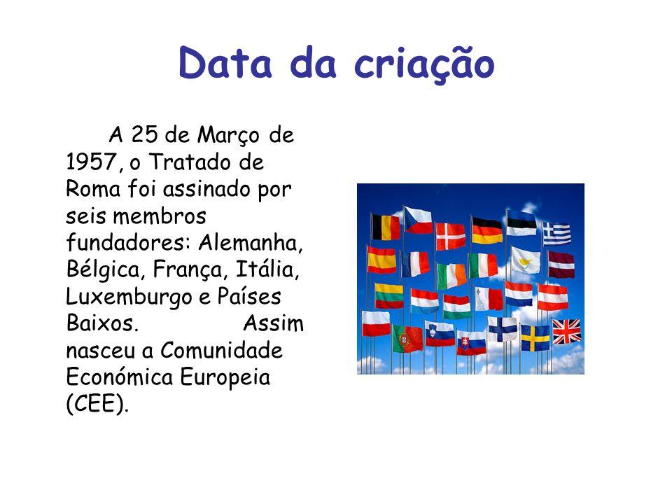 Data da criação A 25 de Março de 1957, o Tratado de Roma foi assinado por seis membros fundadores: Alemanha, Bélgica, França, Itália, Luxemburgo e Paí