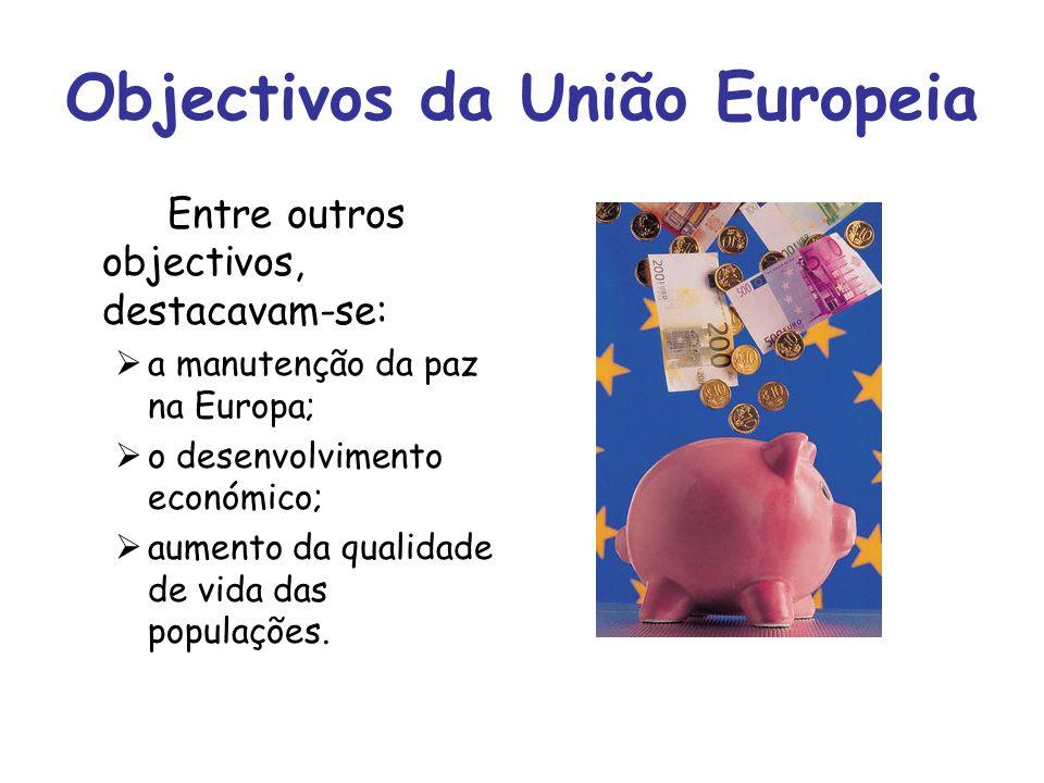 Objectivos da União Europeia Entre outros objectivos, destacavam-se: a manutenção da paz na Europa; o desenvolvimento económico; aumento da qualidade