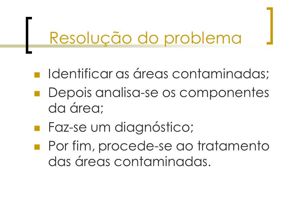 Resolução do problema Identificar as áreas contaminadas; Depois analisa-se os componentes da área; Faz-se um diagnóstico; Por fim, procede-se ao trata