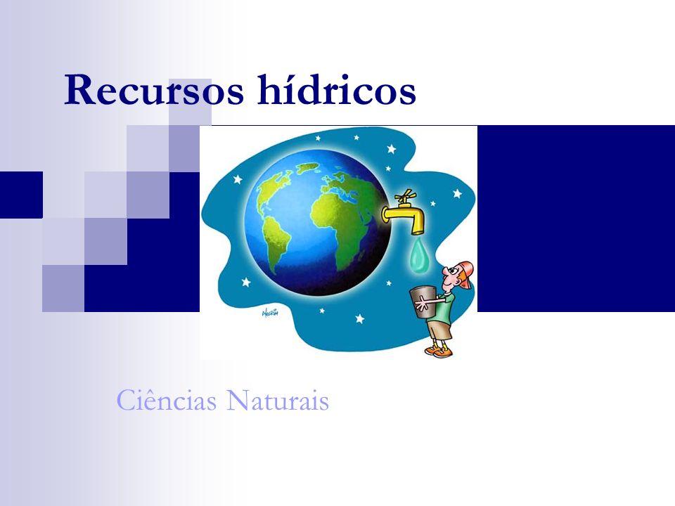 Os recursos hídricos Os recursos hídricos é a quantidade de água subterrânea e doce superficial que está à disposição do Homem.