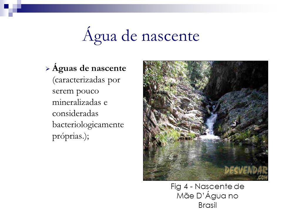 Água de nascente Águas de nascente (caracterizadas por serem pouco mineralizadas e consideradas bacteriologicamente próprias.); Fig 4 - Nascente de Mã