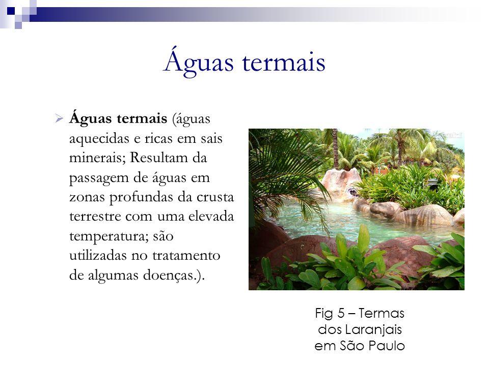 Águas termais Águas termais (águas aquecidas e ricas em sais minerais; Resultam da passagem de águas em zonas profundas da crusta terrestre com uma el