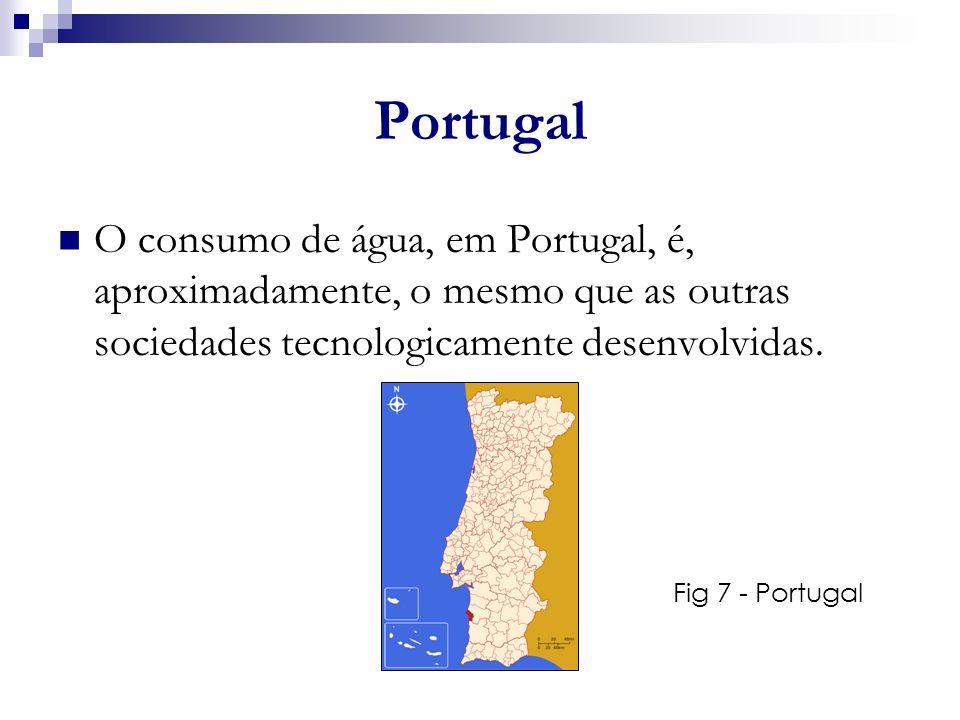 Portugal O consumo de água, em Portugal, é, aproximadamente, o mesmo que as outras sociedades tecnologicamente desenvolvidas. Fig 7 - Portugal a