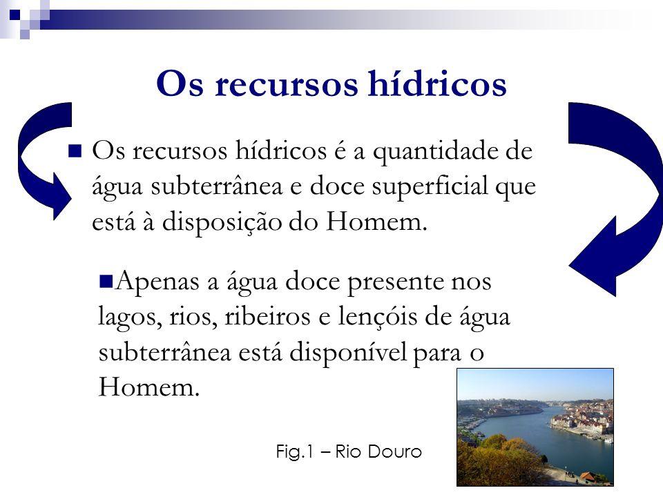 Os recursos hídricos Os recursos hídricos é a quantidade de água subterrânea e doce superficial que está à disposição do Homem. Fig.1 – Rio Douro Apen