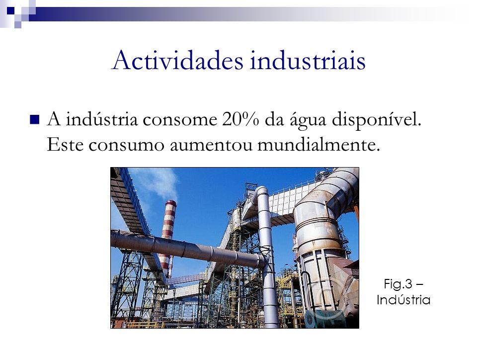 Actividades industriais A indústria consome 20% da água disponível. Este consumo aumentou mundialmente. Fig.3 – Indústria a
