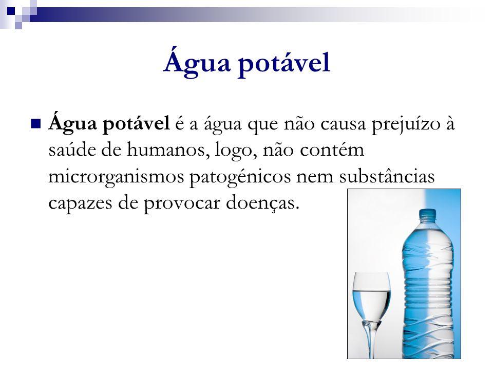 Classificação das águas Podemos classificar as águas, tendo em conta a composição química ou características físico- químicas.