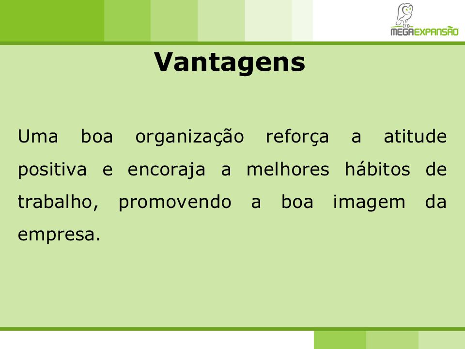 Vantagens Uma boa organização reforça a atitude positiva e encoraja a melhores hábitos de trabalho, promovendo a boa imagem da empresa.