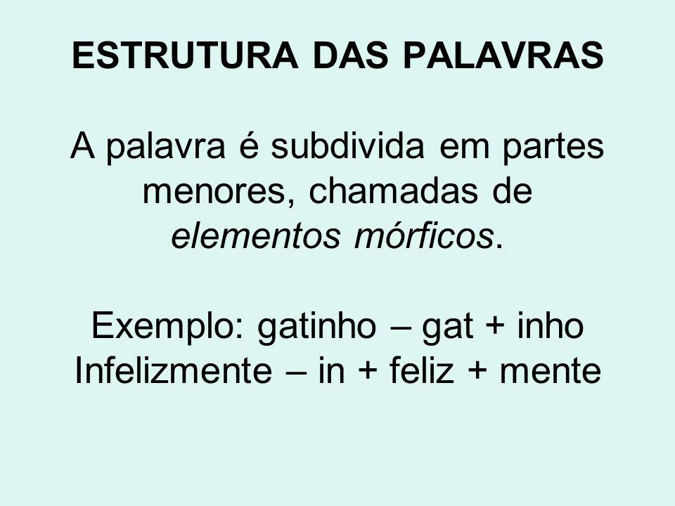 ESTRUTURA DAS PALAVRAS A palavra é subdivida em partes menores, chamadas de elementos mórficos. Exemplo: gatinho – gat + inho Infelizmente – in + feli