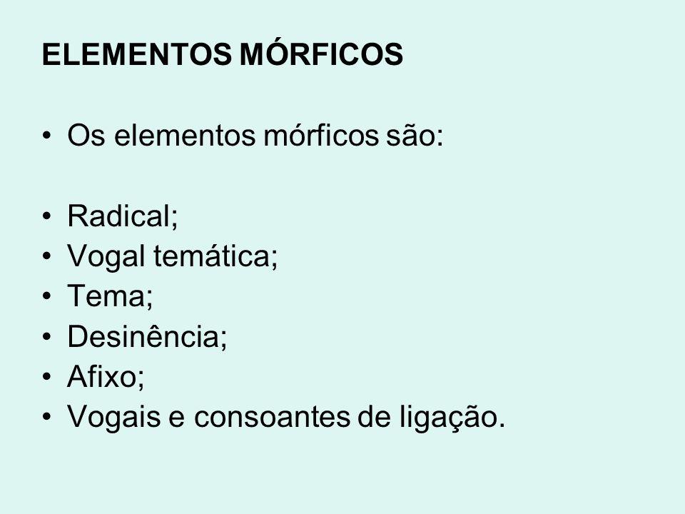 ELEMENTOS MÓRFICOS Os elementos mórficos são: Radical; Vogal temática; Tema; Desinência; Afixo; Vogais e consoantes de ligação.