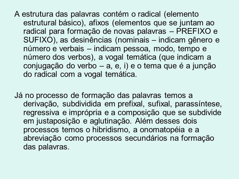 A estrutura das palavras contém o radical (elemento estrutural básico), afixos (elementos que se juntam ao radical para formação de novas palavras – P