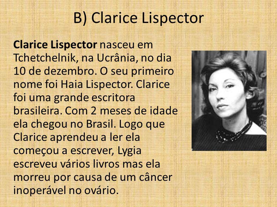 B) Clarice Lispector Clarice Lispector nasceu em Tchetchelnik, na Ucrânia, no dia 10 de dezembro. O seu primeiro nome foi Haia Lispector. Clarice foi