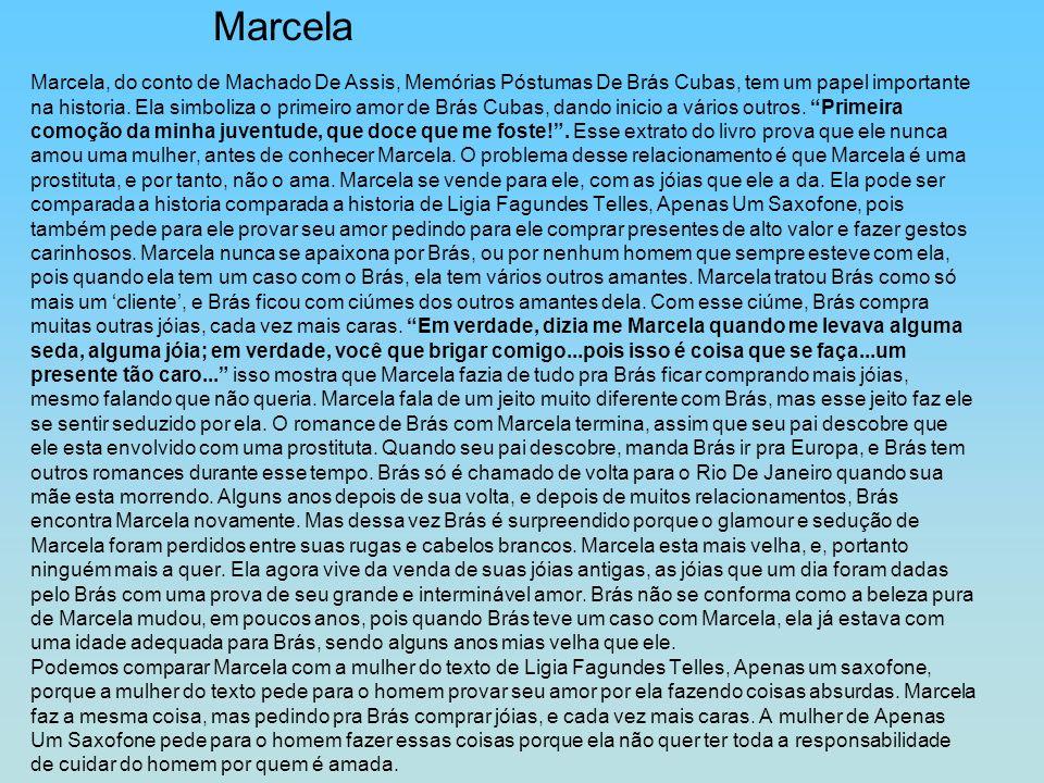 Marcela, do conto de Machado De Assis, Memórias Póstumas De Brás Cubas, tem um papel importante na historia. Ela simboliza o primeiro amor de Brás Cub