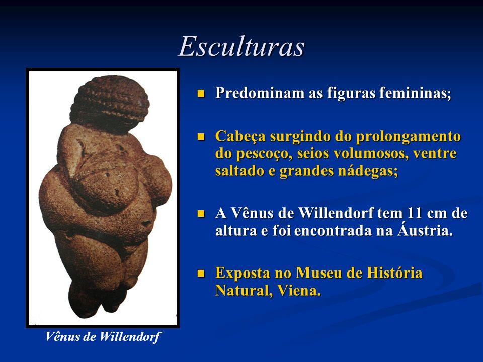 Esculturas Predominam as figuras femininas ; Cabeça surgindo do prolongamento do pescoço, seios volumosos, ventre saltado e grandes nádegas; A Vênus d